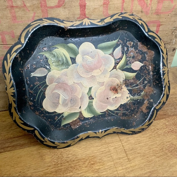 Vintage Toleware Tray Black Floral Chippendale
